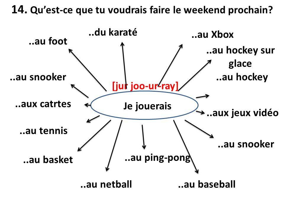 Je jouerais [jur joo-ur-ray]..au foot..du karaté..au snooker..aux catrtes..au tennis..au basket..au netball..au ping-pong..au baseball..au snooker..au