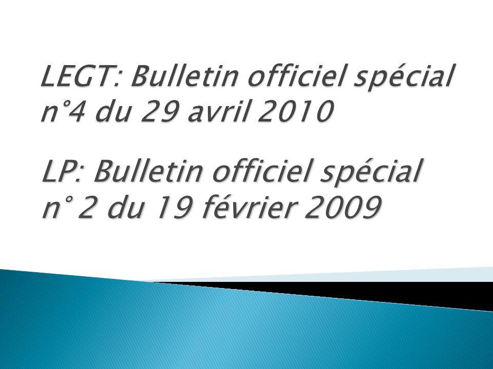 LP: Bulletin officiel spécial n° 2 du 19 février 2009