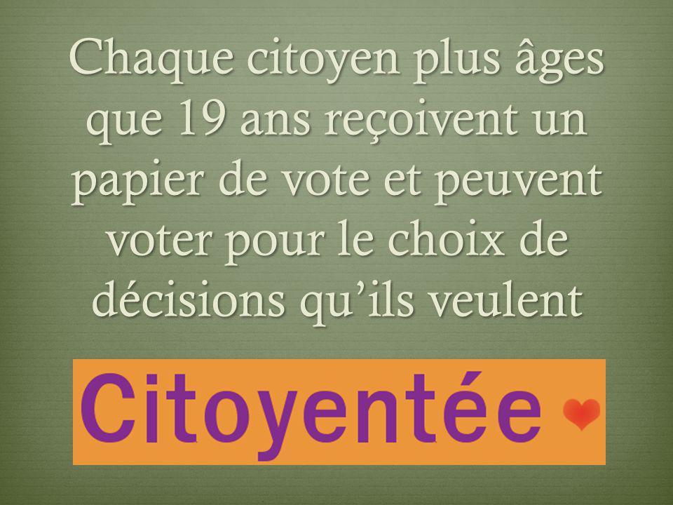 Chaque citoyen plus âges que 19 ans reçoivent un papier de vote et peuvent voter pour le choix de décisions quils veulent