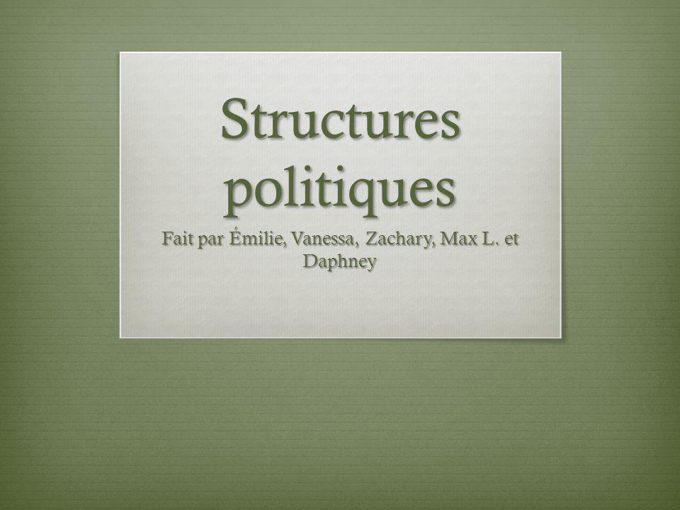 Structures politiques Fait par Émilie, Vanessa, Zachary, Max L. et Daphney