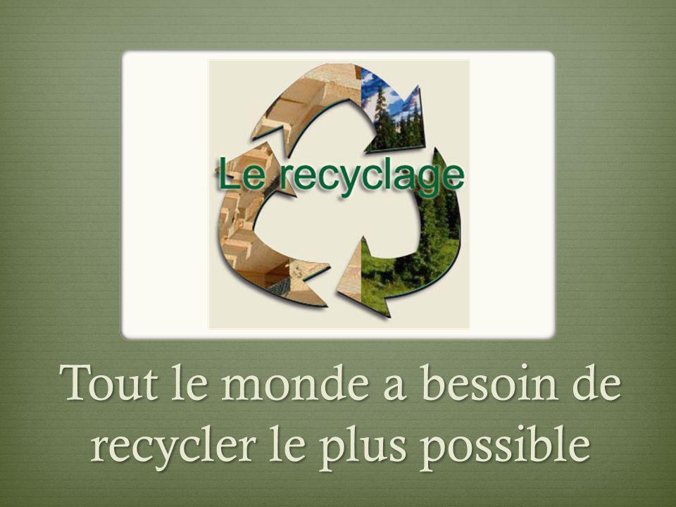 Tout le monde a besoin de recycler le plus possible