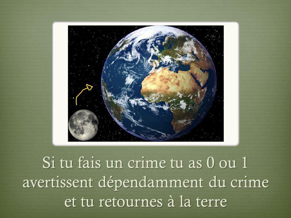 Si tu fais un crime tu as 0 ou 1 avertissent dépendamment du crime et tu retournes à la terre