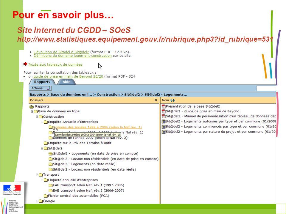 Site Internet du CGDD – SOeS http://www.statistiques.equipement.gouv.fr/rubrique.php3 id_rubrique=531 Pour en savoir plus…