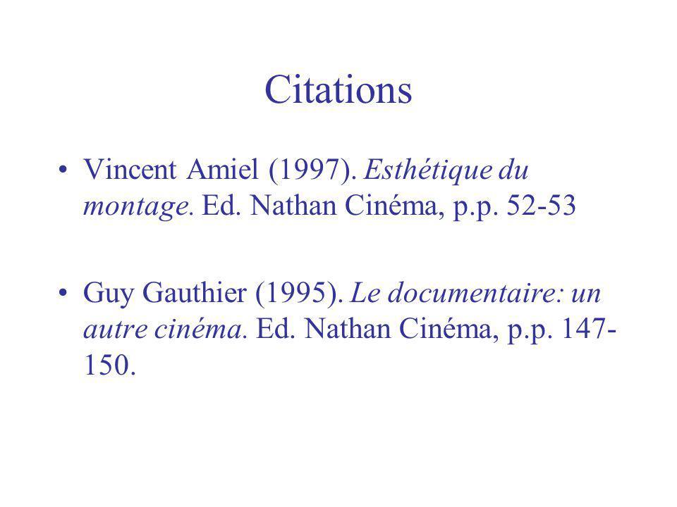 Citations Vincent Amiel (1997). Esthétique du montage. Ed. Nathan Cinéma, p.p. 52-53 Guy Gauthier (1995). Le documentaire: un autre cinéma. Ed. Nathan