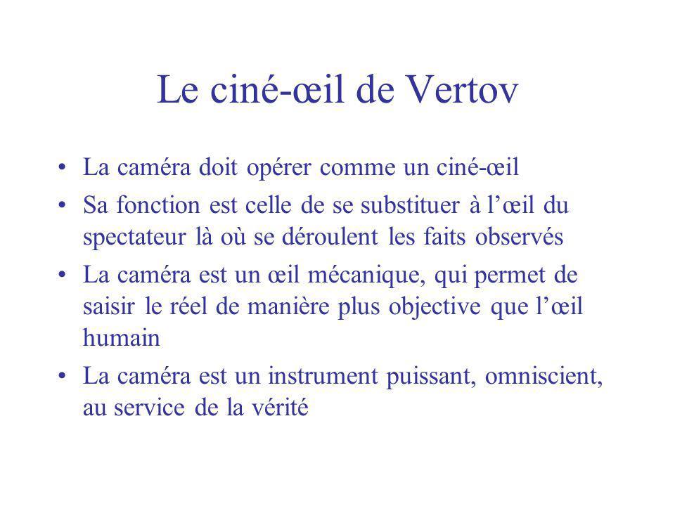 Le ciné-œil de Vertov La caméra doit opérer comme un ciné-œil Sa fonction est celle de se substituer à lœil du spectateur là où se déroulent les faits