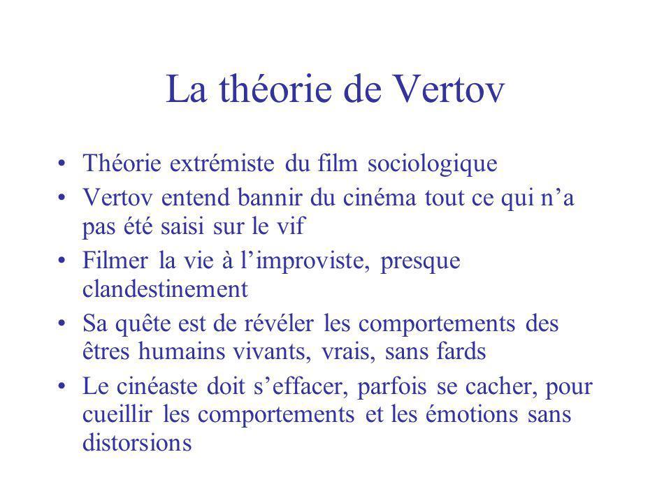 La théorie de Vertov Théorie extrémiste du film sociologique Vertov entend bannir du cinéma tout ce qui na pas été saisi sur le vif Filmer la vie à li