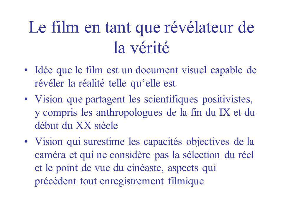 Le film en tant que révélateur de la vérité Idée que le film est un document visuel capable de révéler la réalité telle quelle est Vision que partagen