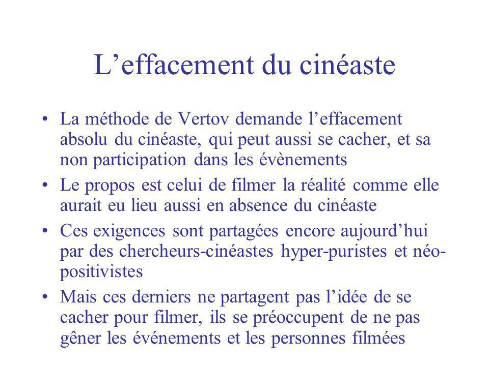 Leffacement du cinéaste La méthode de Vertov demande leffacement absolu du cinéaste, qui peut aussi se cacher, et sa non participation dans les évènem