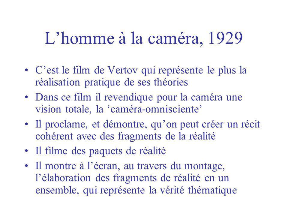 Lhomme à la caméra, 1929 Cest le film de Vertov qui représente le plus la réalisation pratique de ses théories Dans ce film il revendique pour la camé