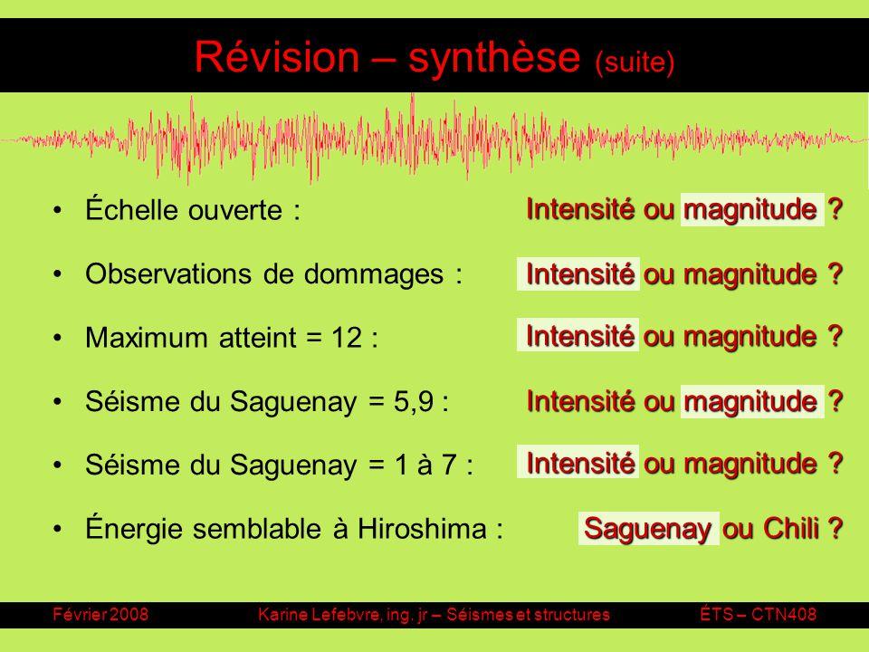 Février 2008Karine Lefebvre, ing. jr – Séismes et structuresÉTS – CTN408 Révision – synthèse (suite) Échelle ouverte : Intensité ou magnitude ? Observ