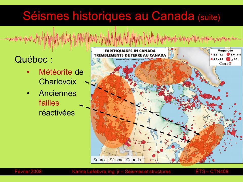 Février 2008Karine Lefebvre, ing. jr – Séismes et structuresÉTS – CTN408 Séismes historiques au Canada (suite) Source : Séismes Canada Québec : Météor