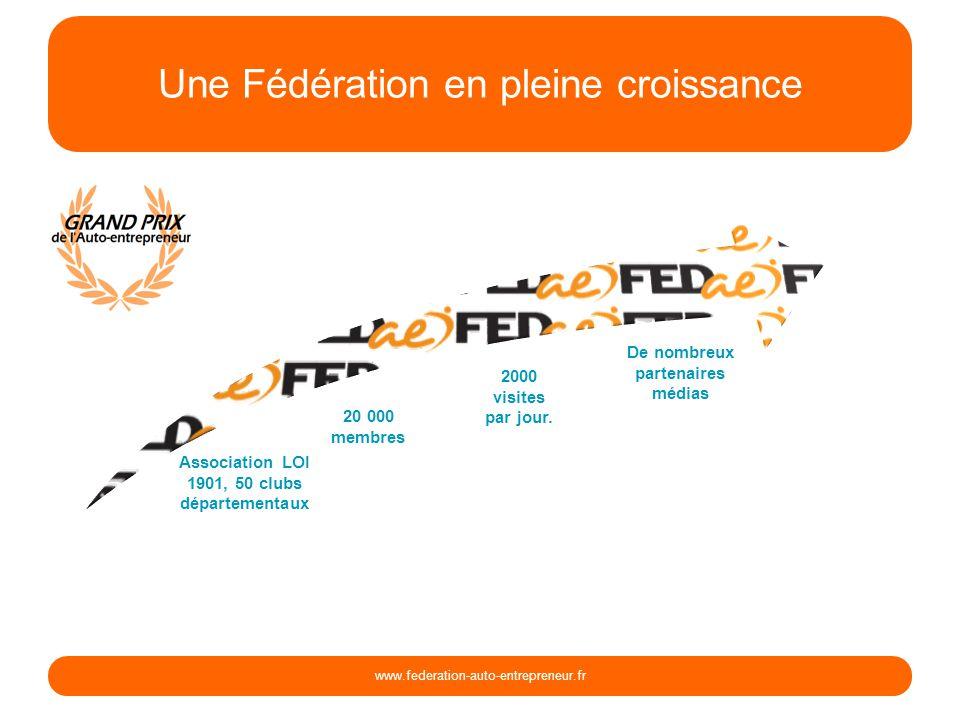 Une Fédération en pleine croissance www.federation-auto-entrepreneur.fr Association LOI 1901, 50 clubs départementaux 20 000 membres 2000 visites par jour.