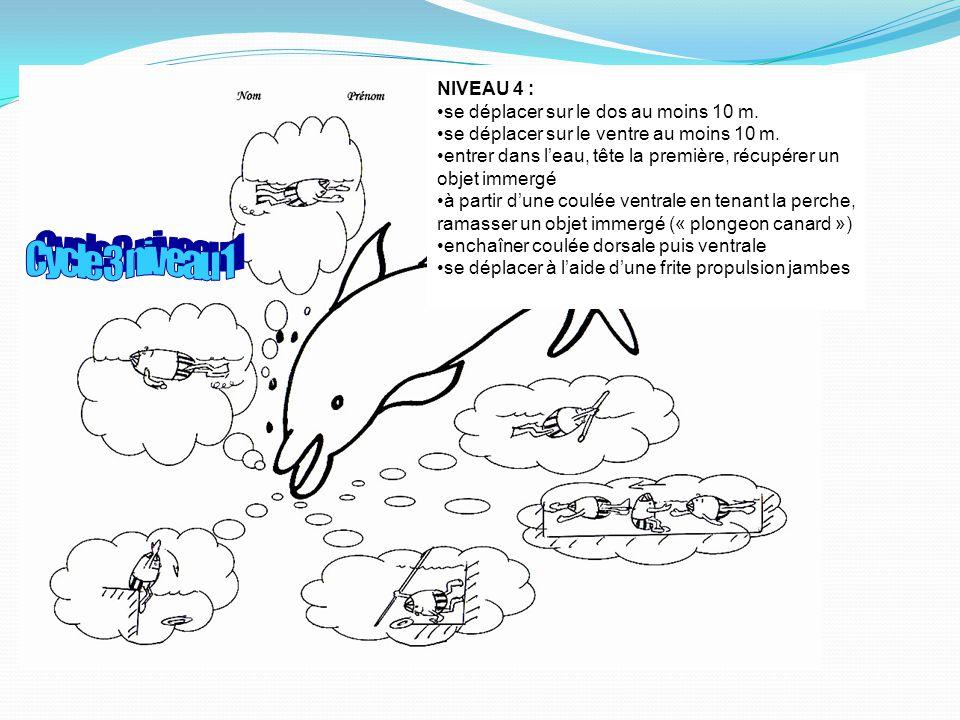 NIVEAU 4 : se déplacer sur le dos au moins 10 m.se déplacer sur le ventre au moins 10 m.
