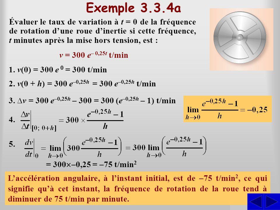 SSS Exemple 3.3.4a Évaluer le taux de variation à t = 0 de la fréquence de rotation dune roue dinertie si cette fréquence, t minutes après la mise hor