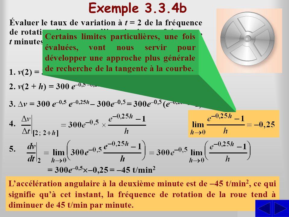 SSS Exemple 3.3.4b Évaluer le taux de variation à t = 2 de la fréquence de rotation dune roue dinertie si cette fréquence, t minutes après la mise hor