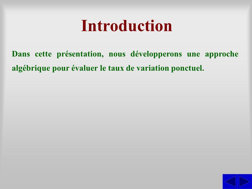 Introduction Dans cette présentation, nous développerons une approche algébrique pour évaluer le taux de variation ponctuel.