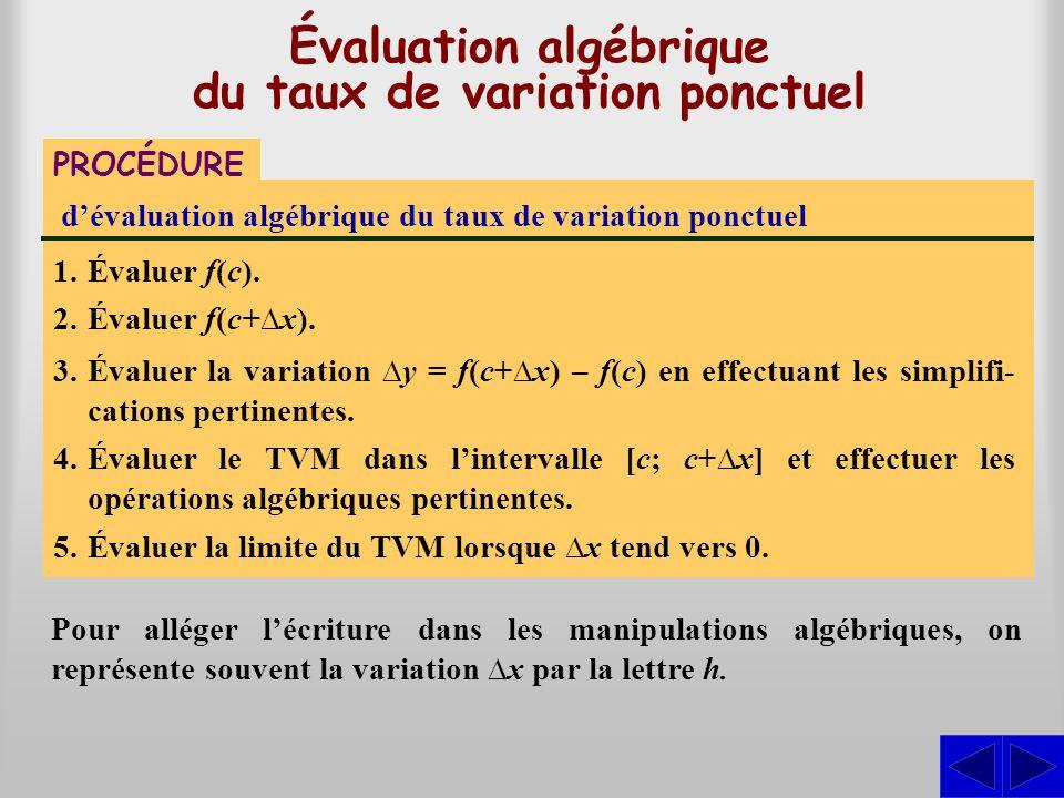 Évaluation algébrique du taux de variation ponctuel Pour alléger lécriture dans les manipulations algébriques, on représente souvent la variation x pa
