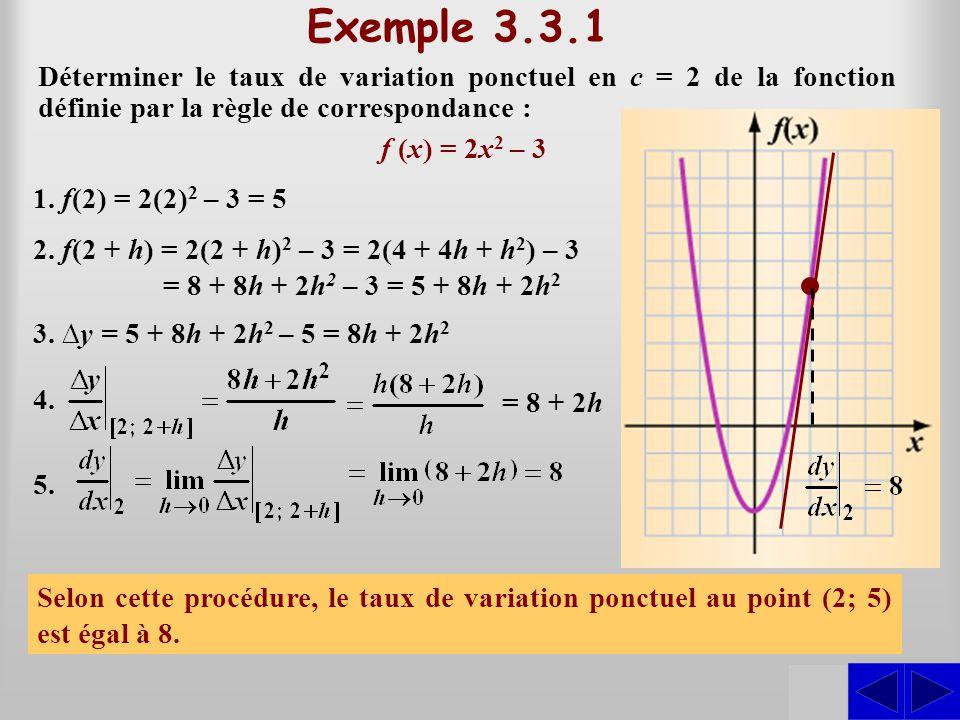 SSS Exemple 3.3.1 Déterminer le taux de variation ponctuel en c = 2 de la fonction définie par la règle de correspondance : f (x) = 2x 2 – 3 1. f(2) =