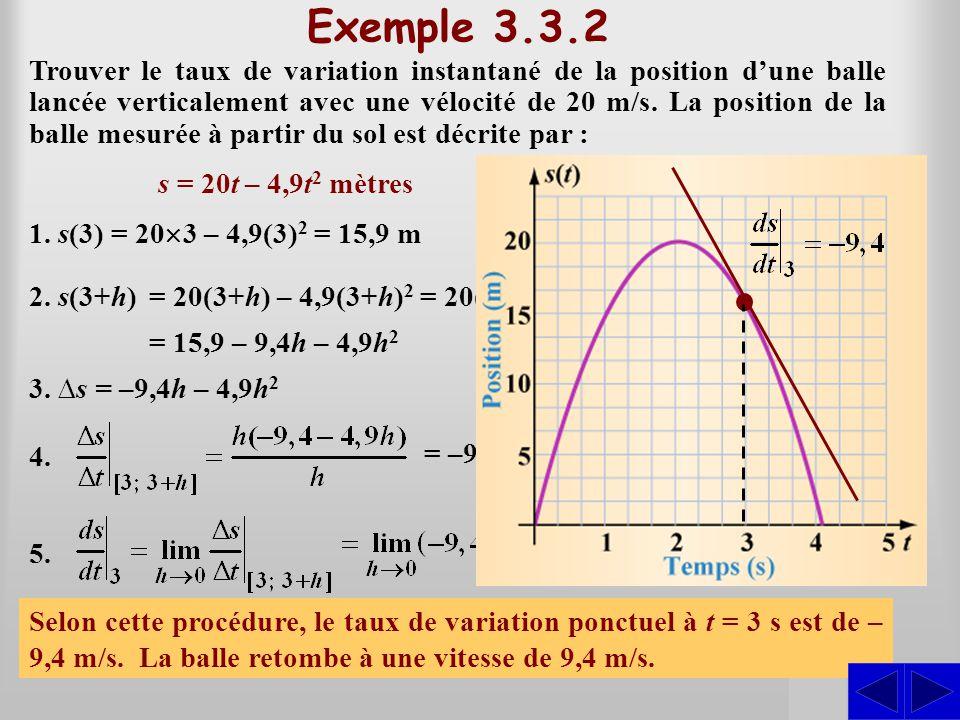SSS Exemple 3.3.2 Trouver le taux de variation instantané de la position dune balle lancée verticalement avec une vélocité de 20 m/s. La position de l