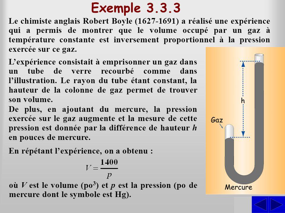 SS Exemple 3.3.3 Le chimiste anglais Robert Boyle (1627-1691) a réalisé une expérience qui a permis de montrer que le volume occupé par un gaz à tempé