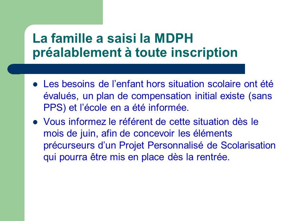La famille a saisi la MDPH préalablement à toute inscription Les besoins de lenfant hors situation scolaire ont été évalués, un plan de compensation i