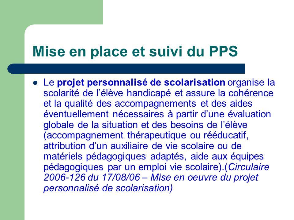Mise en place et suivi du PPS Cette année, le PPS est élaboré par lEquipe de Suivi de la Scolarisation et validé par la Commission des Droits et de lAutonomielEquipe de Suivi de la Scolarisation