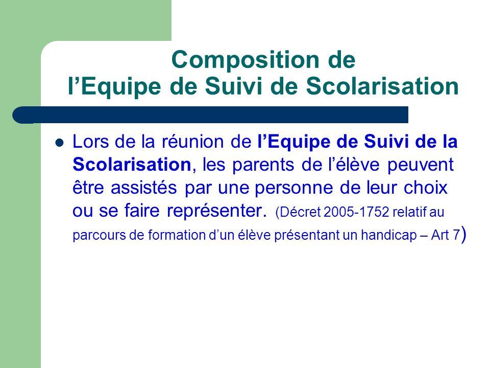 Composition de lEquipe de Suivi de Scolarisation Lenseignant référent est chargé de réunir lEquipe de Suivi de la Scolarisation pour chacun des élèves handicapés.