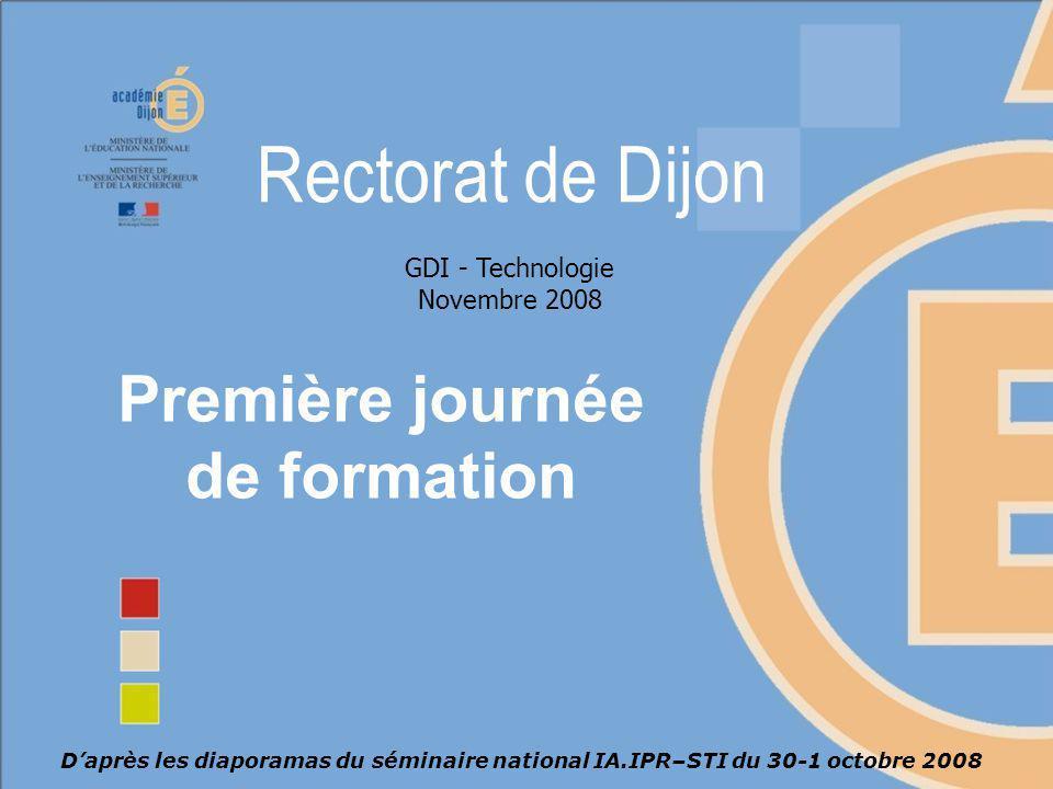 Formation GDI - Académie de Dijon 22 Acquisition de compétences Présentation du programme Niveau dapprofondissement Connaissances Niveau dapprofondissement Commentaires Capacités