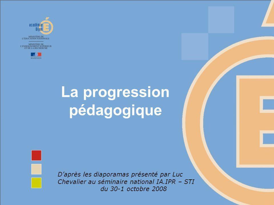 La progression pédagogique Daprès les diaporamas présenté par Luc Chevalier au séminaire national IA.IPR – STI du 30-1 octobre 2008