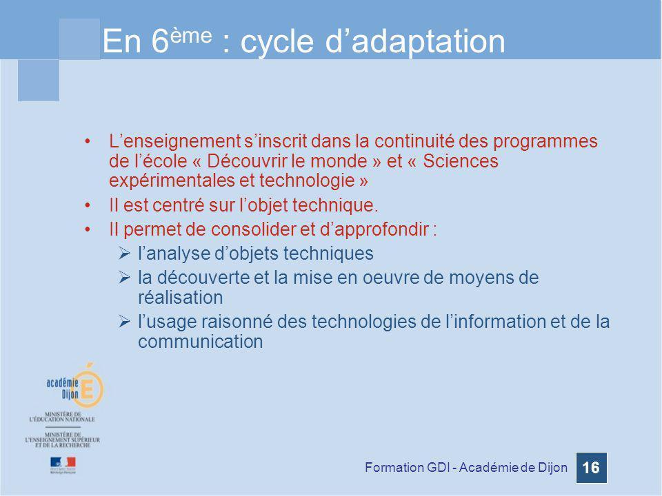 Formation GDI - Académie de Dijon 16 En 6 ème : cycle dadaptation Lenseignement sinscrit dans la continuité des programmes de lécole « Découvrir le mo