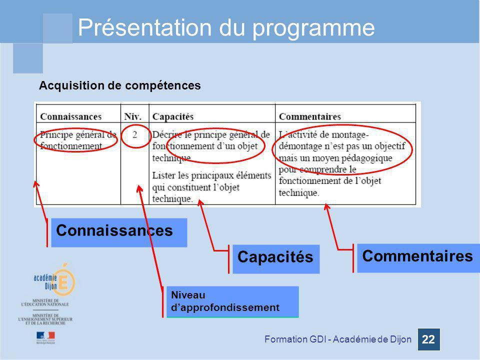 Formation GDI - Académie de Dijon 22 Acquisition de compétences Présentation du programme Niveau dapprofondissement Connaissances Niveau dapprofondiss