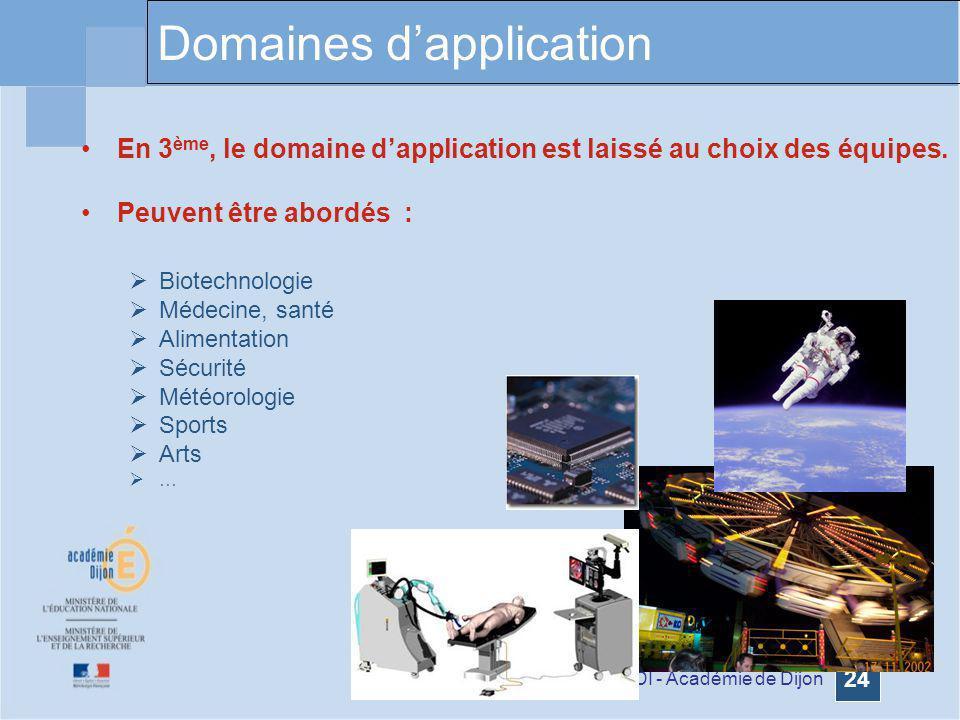 Formation GDI - Académie de Dijon 24 En 3 ème, le domaine dapplication est laissé au choix des équipes. Peuvent être abordés : Biotechnologie Médecine
