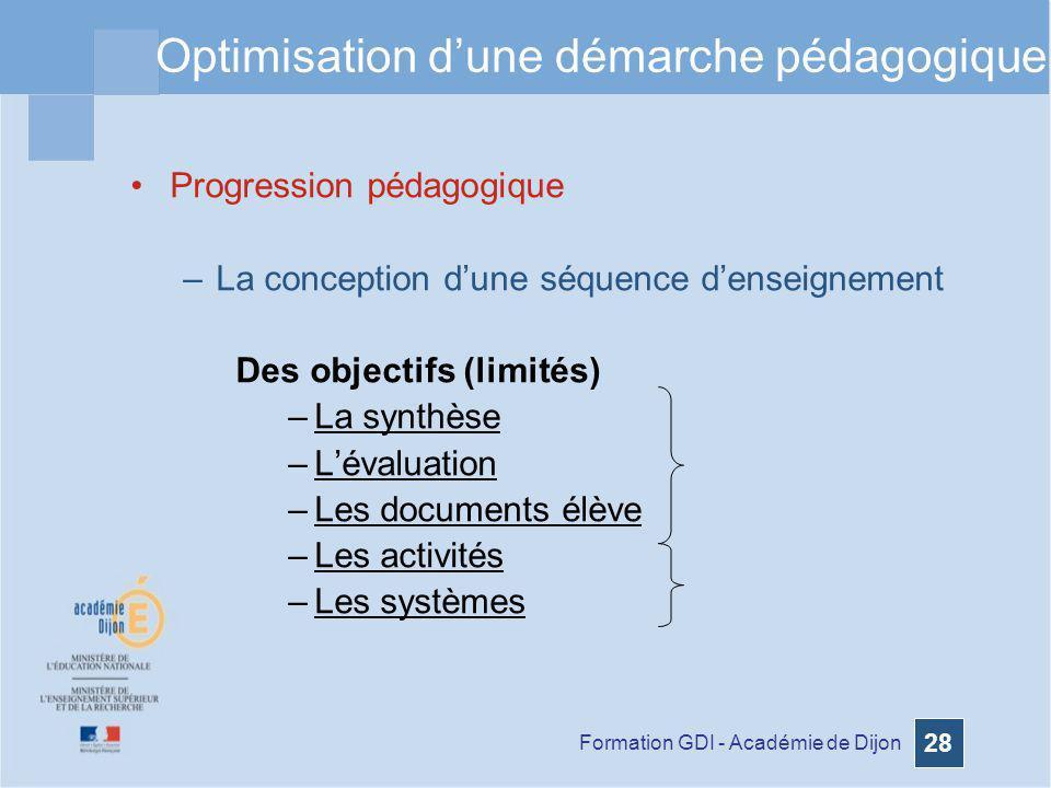 Formation GDI - Académie de Dijon 28 Optimisation dune démarche pédagogique Progression pédagogique –La conception dune séquence denseignement Des obj