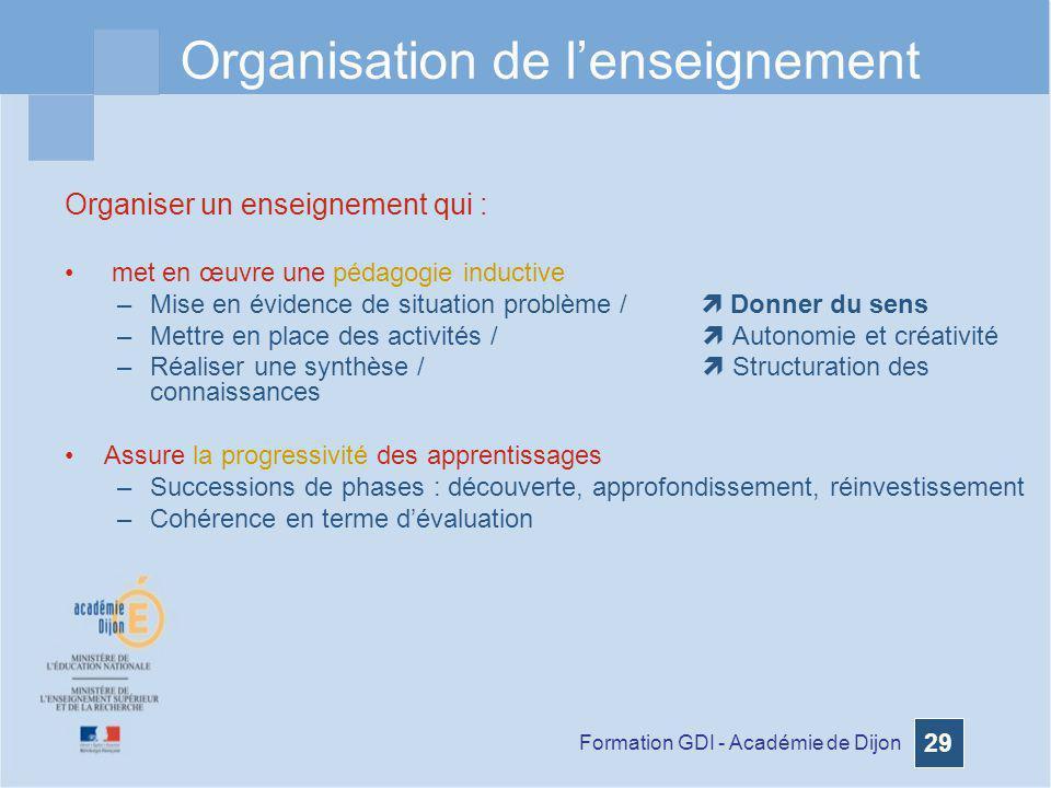 Formation GDI - Académie de Dijon 29 Organisation de lenseignement Organiser un enseignement qui : met en œuvre une pédagogie inductive –Mise en évide