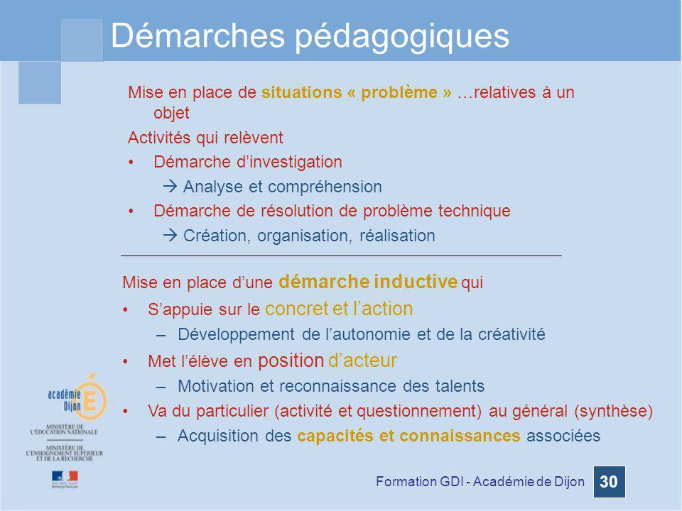 Formation GDI - Académie de Dijon 30 Démarches pédagogiques Mise en place de situations « problème » …relatives à un objet Activités qui relèvent Déma