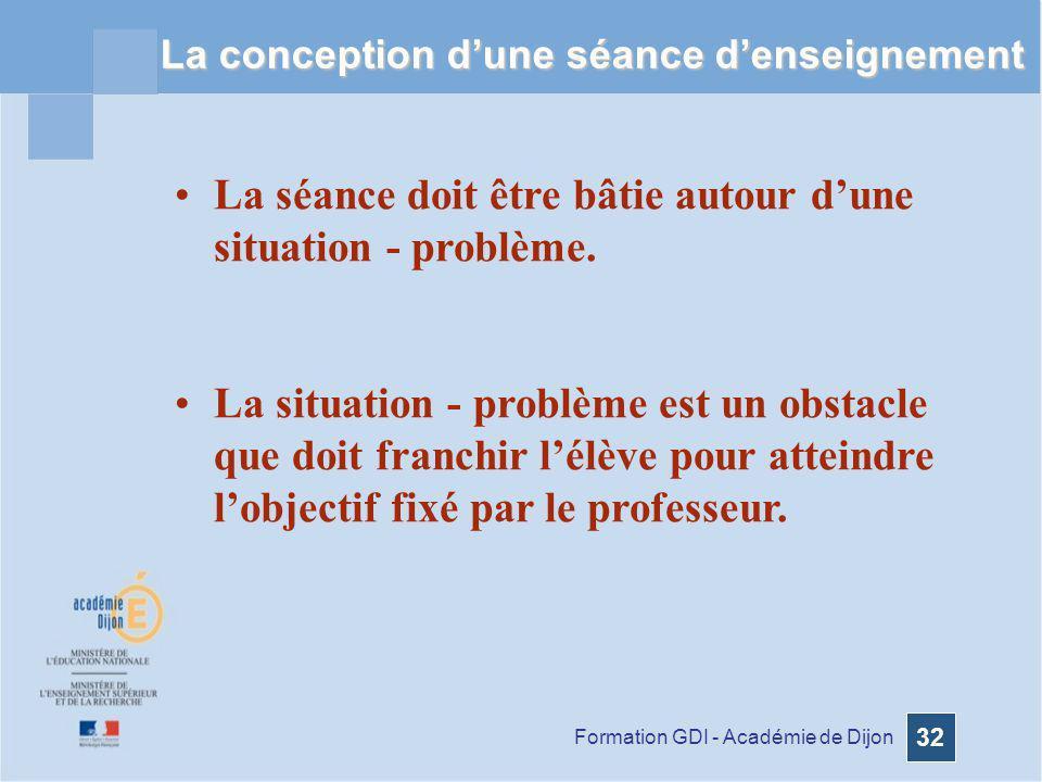 Formation GDI - Académie de Dijon 32 La conception dune séance denseignement La séance doit être bâtie autour dune situation - problème. La situation