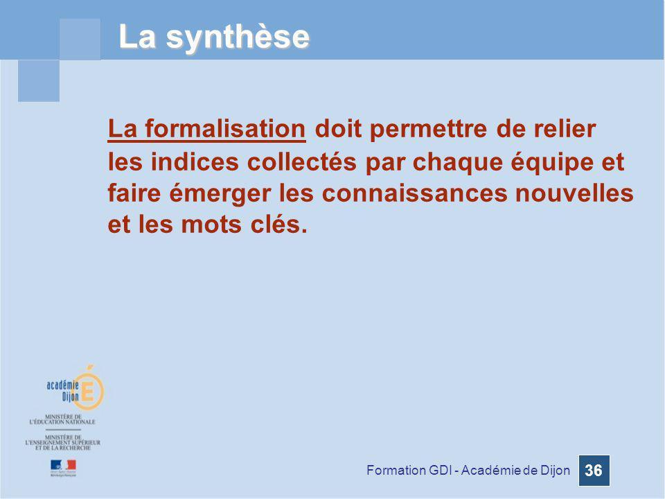Formation GDI - Académie de Dijon 36 La synthèse La formalisation doit permettre de relier les indices collectés par chaque équipe et faire émerger le