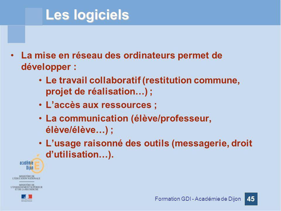 Formation GDI - Académie de Dijon 45 Les logiciels La mise en réseau des ordinateurs permet de développer : Le travail collaboratif (restitution commu