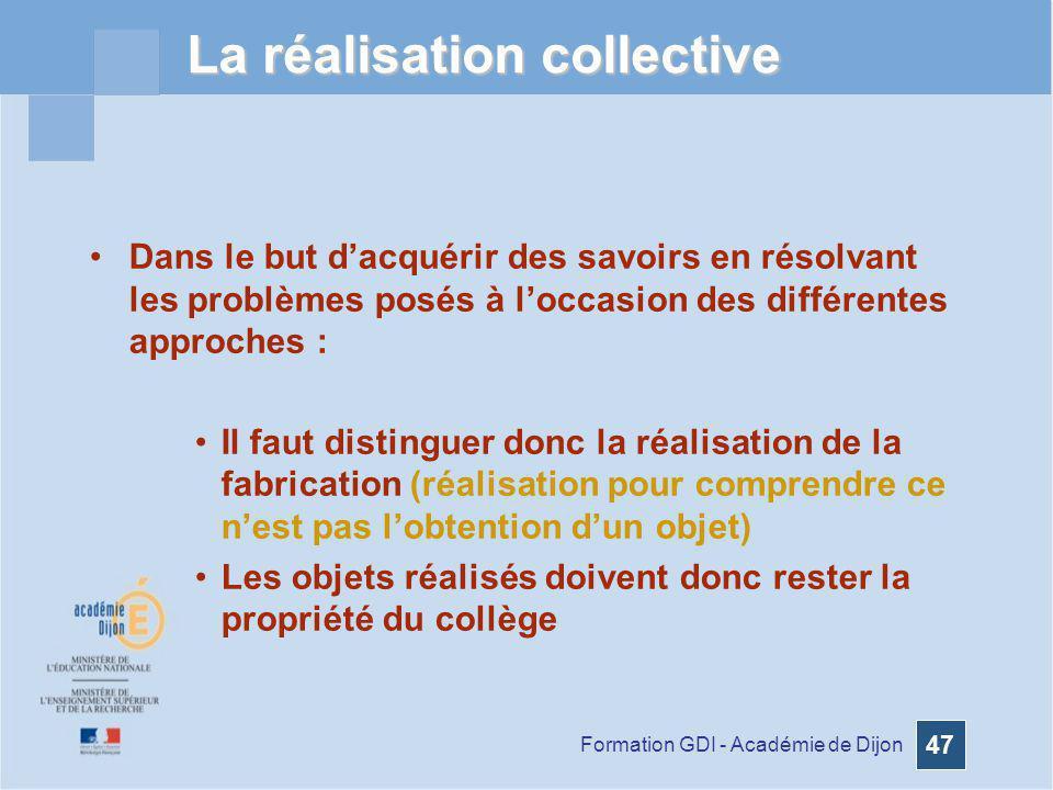 Formation GDI - Académie de Dijon 47 La réalisation collective Dans le but dacquérir des savoirs en résolvant les problèmes posés à loccasion des diff