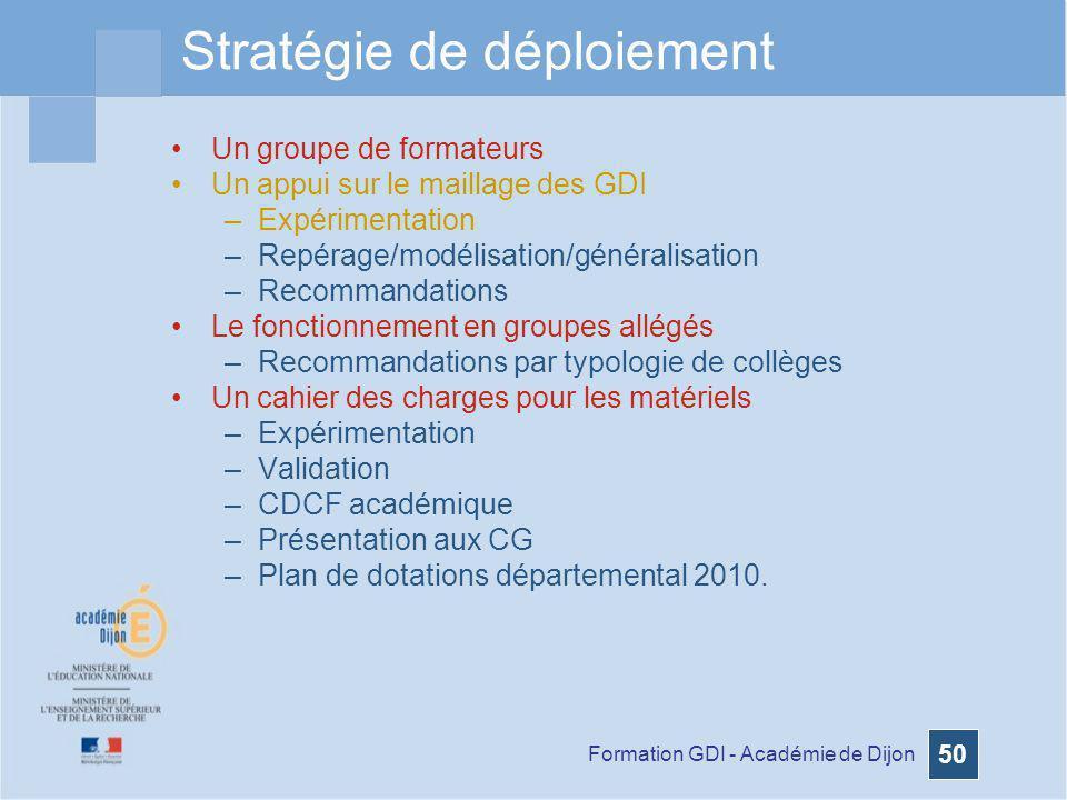 Formation GDI - Académie de Dijon 50 Stratégie de déploiement Un groupe de formateurs Un appui sur le maillage des GDI –Expérimentation –Repérage/modé