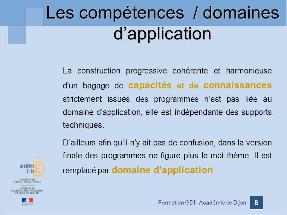 Formation GDI - Académie de Dijon 6 La construction progressive cohérente et harmonieuse d'un bagage de capacités et de connaissances strictement issu