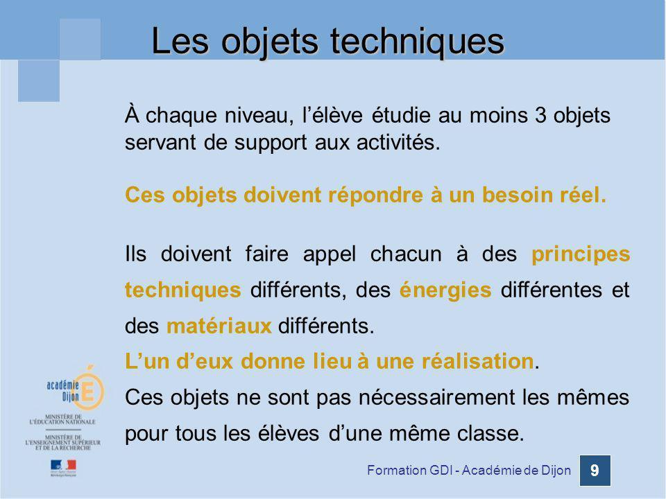 Formation GDI - Académie de Dijon 9 À chaque niveau, lélève étudie au moins 3 objets servant de support aux activités. Ces objets doivent répondre à u