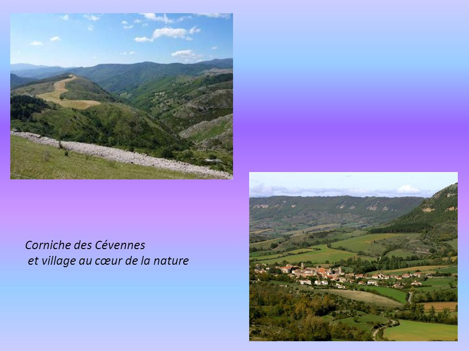 Saint Eulalie de Cernon sur le plateau du Larzac et paysage Cevenol