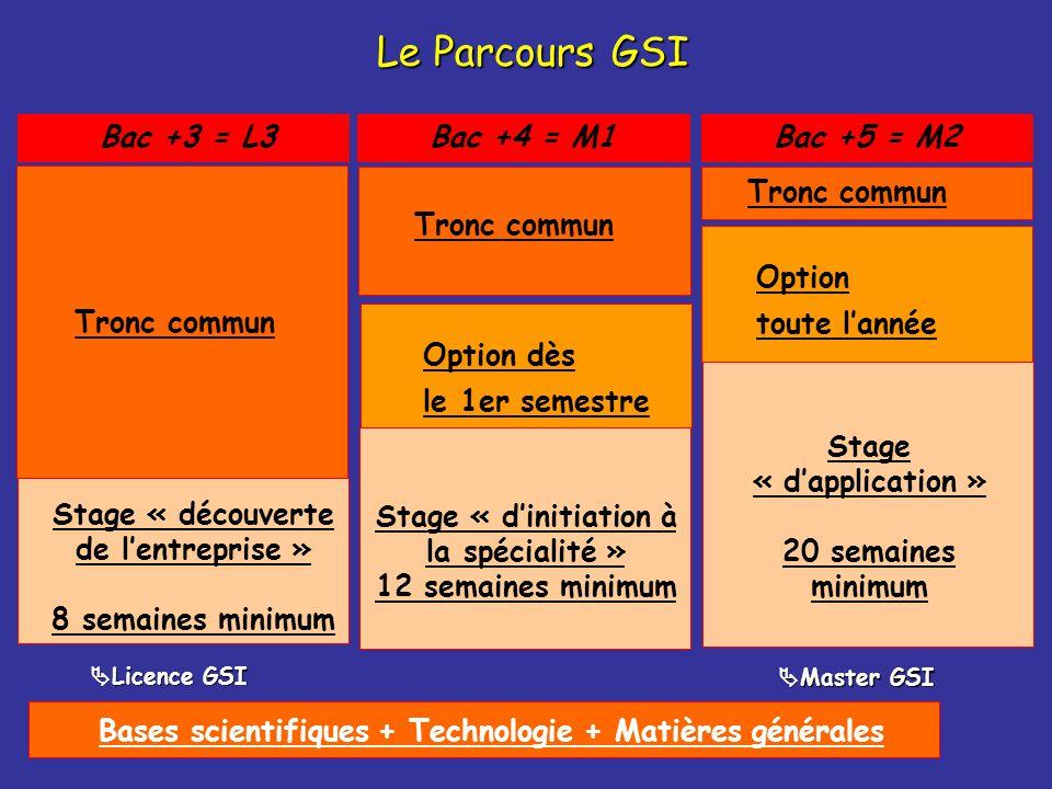 Bases scientifiques + Technologie + Matières générales Bac +4 = M1 Stage « dinitiation à la spécialité » 12 semaines minimum Tronc commun Option dès l