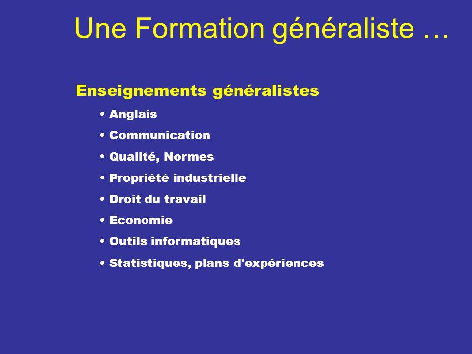 Une Formation généraliste … Enseignements généralistes Anglais Communication Qualité, Normes Propriété industrielle Droit du travail Economie Outils i