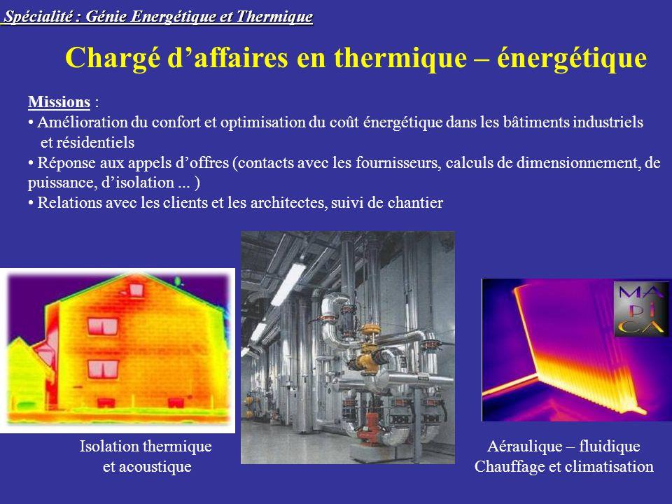 Chargé daffaires en thermique – énergétique Missions : Amélioration du confort et optimisation du coût énergétique dans les bâtiments industriels et r