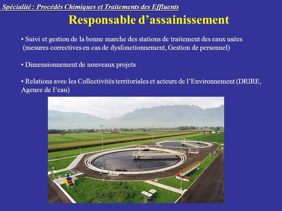 Responsable dassainissement Suivi et gestion de la bonne marche des stations de traitement des eaux usées (mesures correctives en cas de dysfonctionne