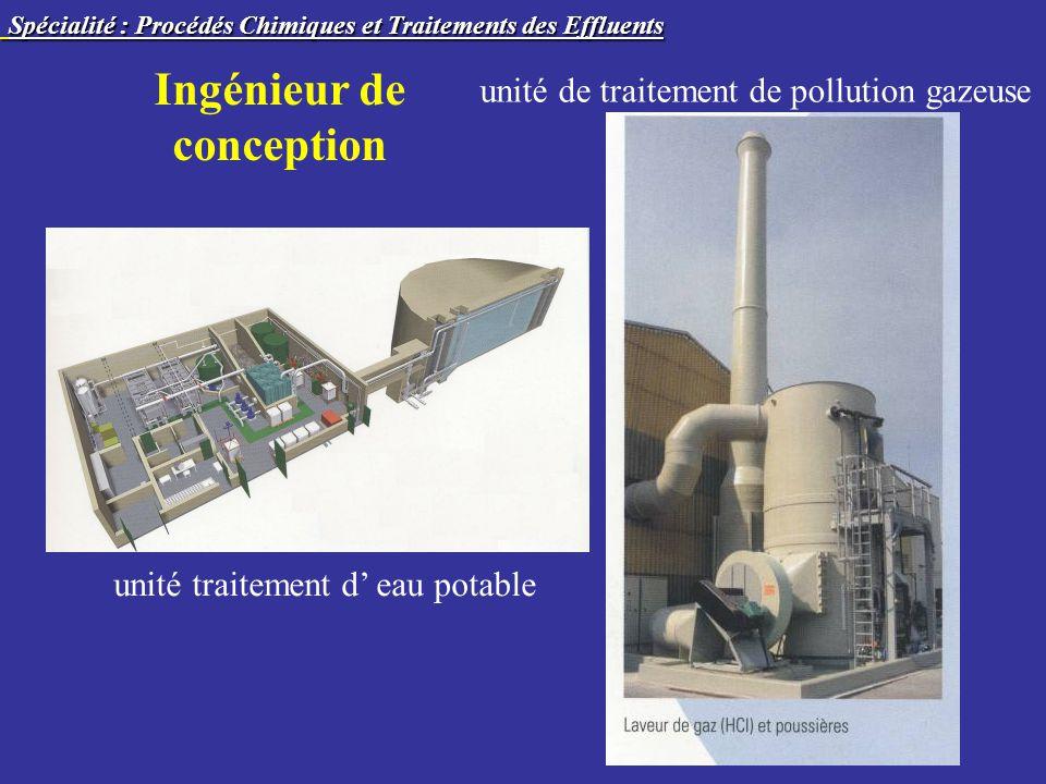 Ingénieur de conception unité traitement d eau potable unité de traitement de pollution gazeuse Spécialité : Procédés Chimiques et Traitements des Effluents Spécialité : Procédés Chimiques et Traitements des Effluents