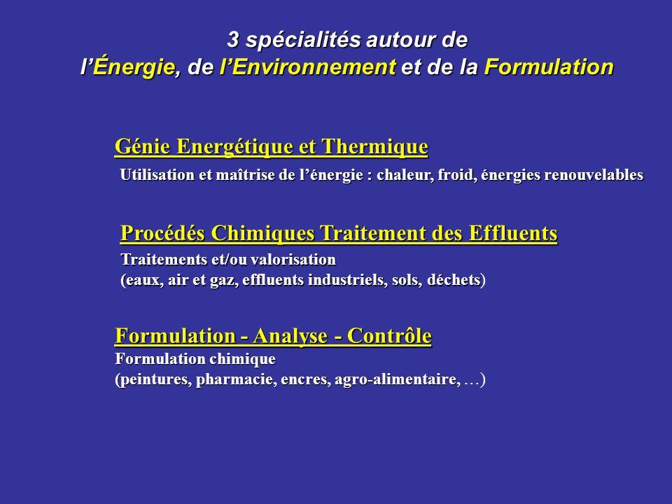 3 spécialités autour de lÉnergie, de lEnvironnement et de la Formulation Génie Energétique et Thermique Procédés Chimiques Traitement des Effluents Fo