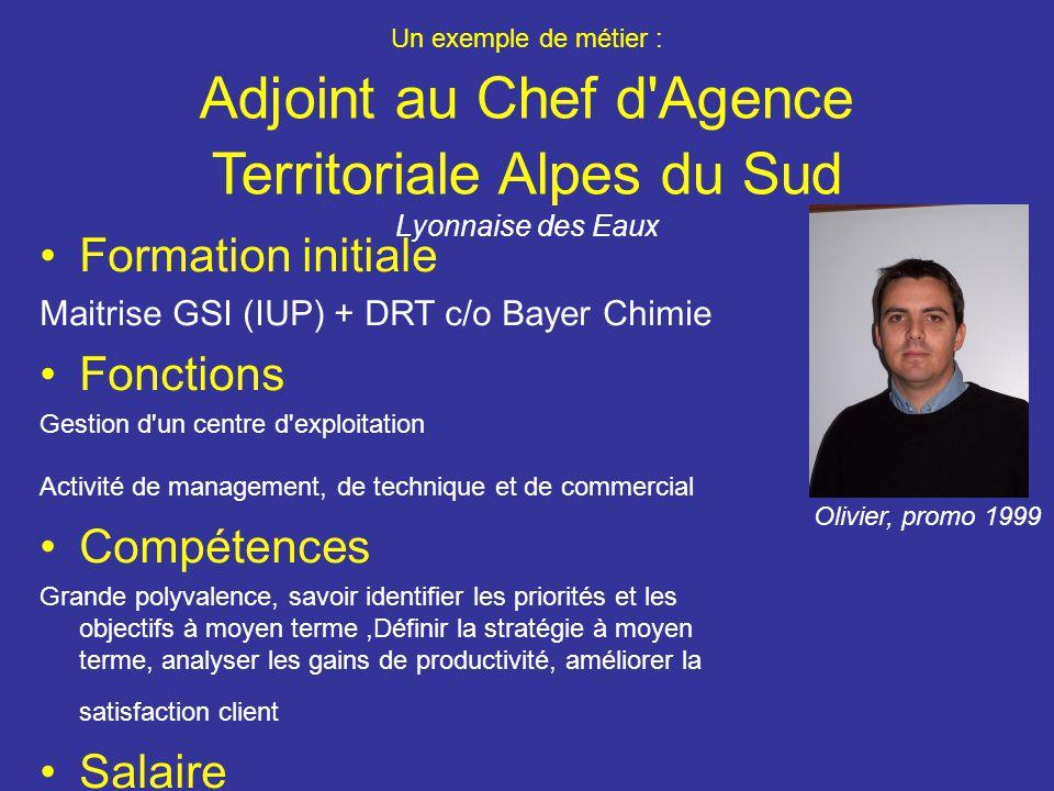 Un exemple de métier : Adjoint au Chef d'Agence Territoriale Alpes du Sud Lyonnaise des Eaux Formation initiale Maitrise GSI (IUP) + DRT c/o Bayer Chi